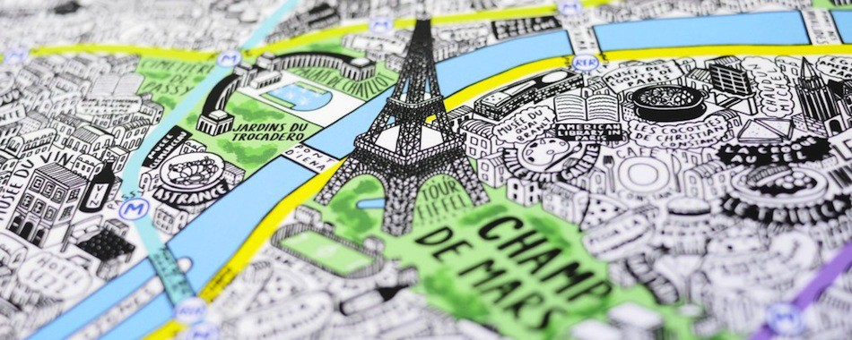 Très Une carte de Paris dessinée à la main GH84