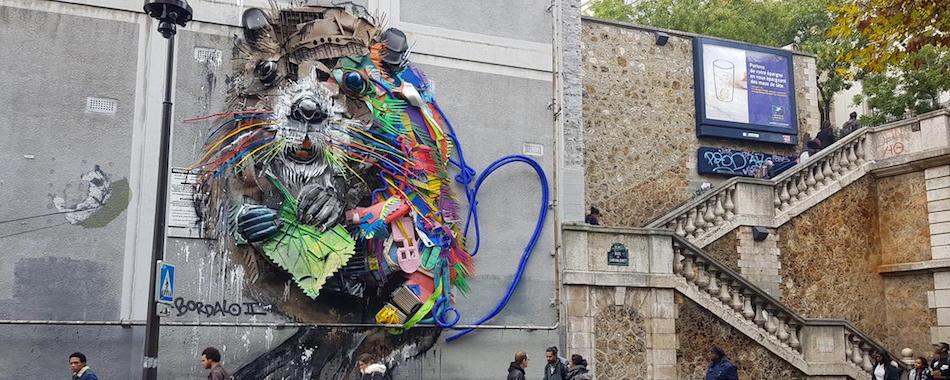 Une immense uvre de street art r alis e partir de d chets dans le 13e - Galerie street art paris ...