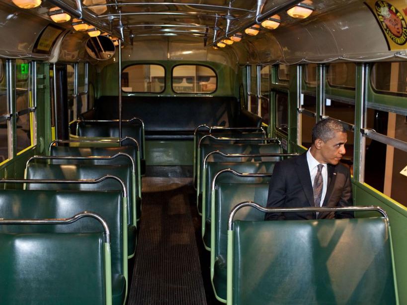 Dans le bus de Rosa Parks, musée Henry-Ford