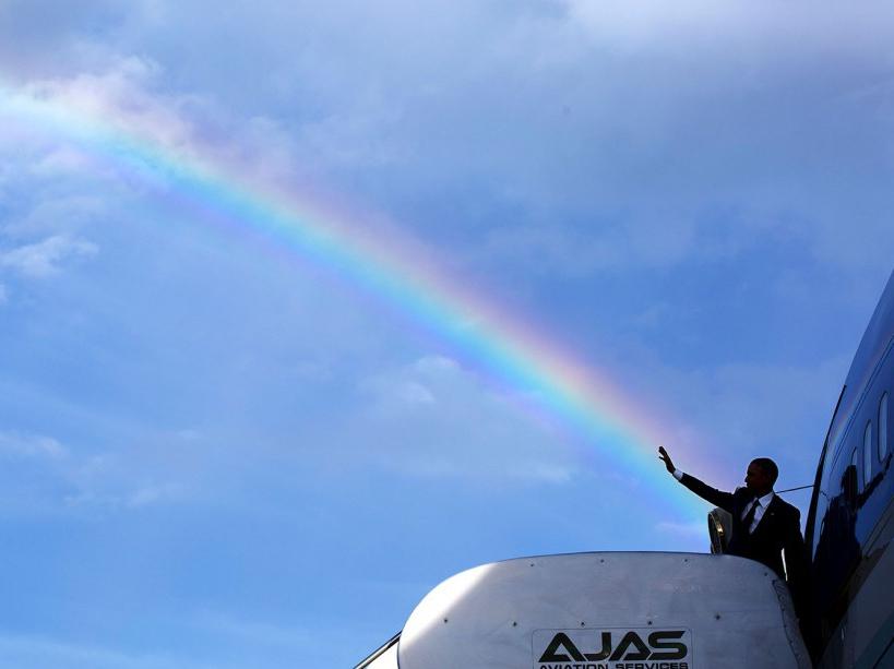 Au moment d'embarquer dans Air Force One depuis Kingstone (09/04/15)