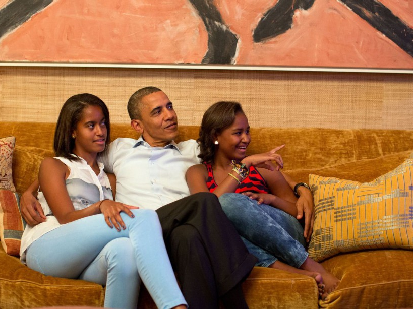 Avec ses filles devant le discours de Michelle (04/09/12)
