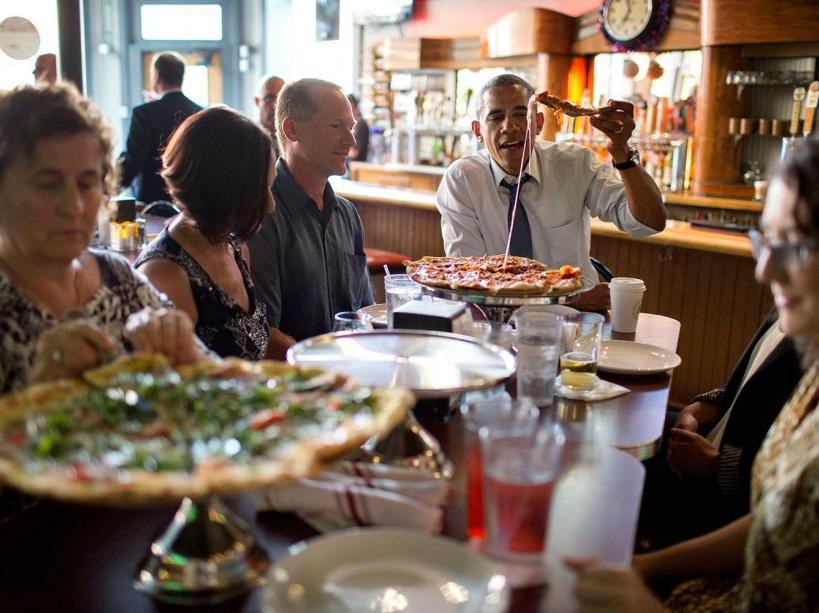 Une pizza partagée avec des fans (08/07/14)