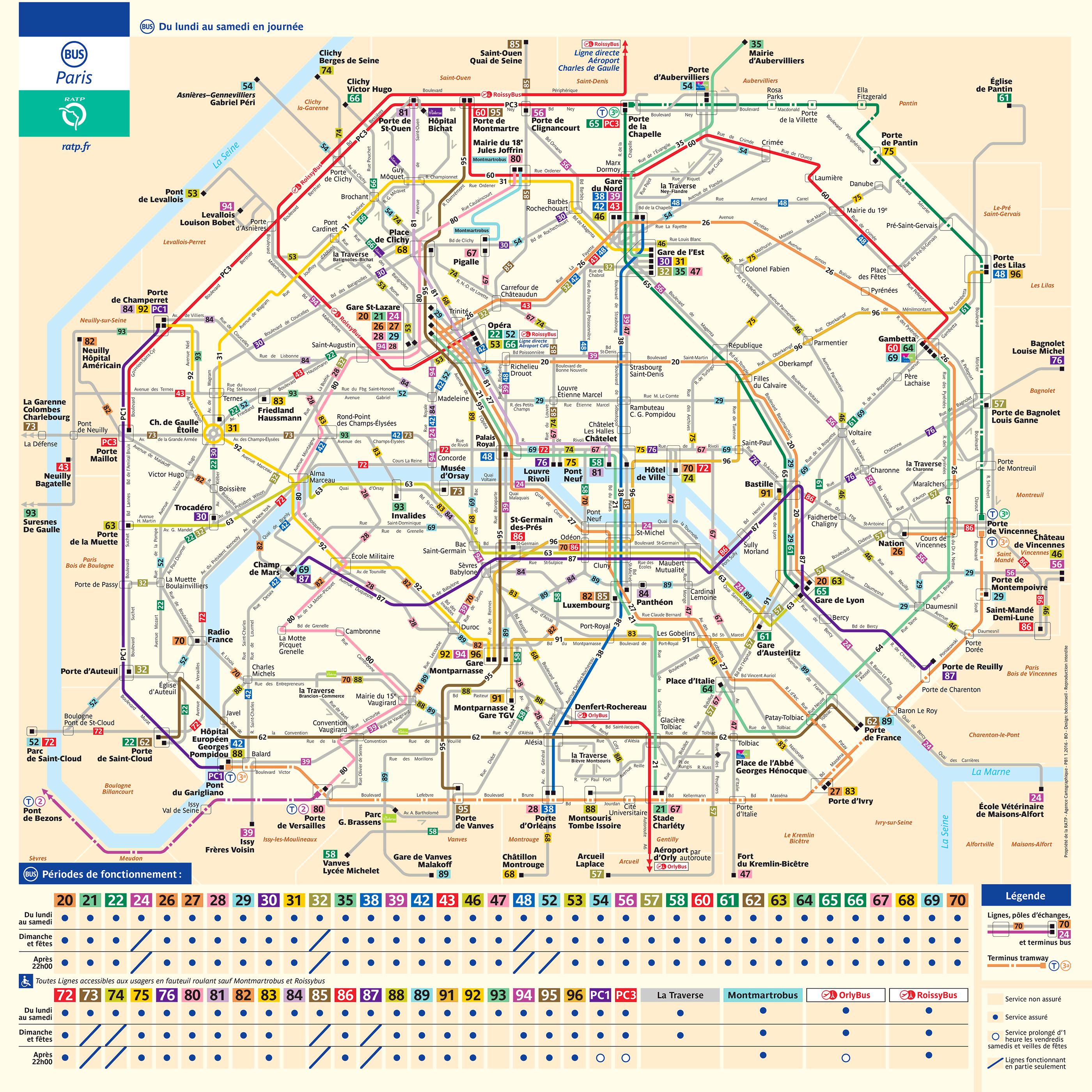 carte des bus paris Paris Plan De La Ville Du Metro Du Rer Des Autobus Free Download