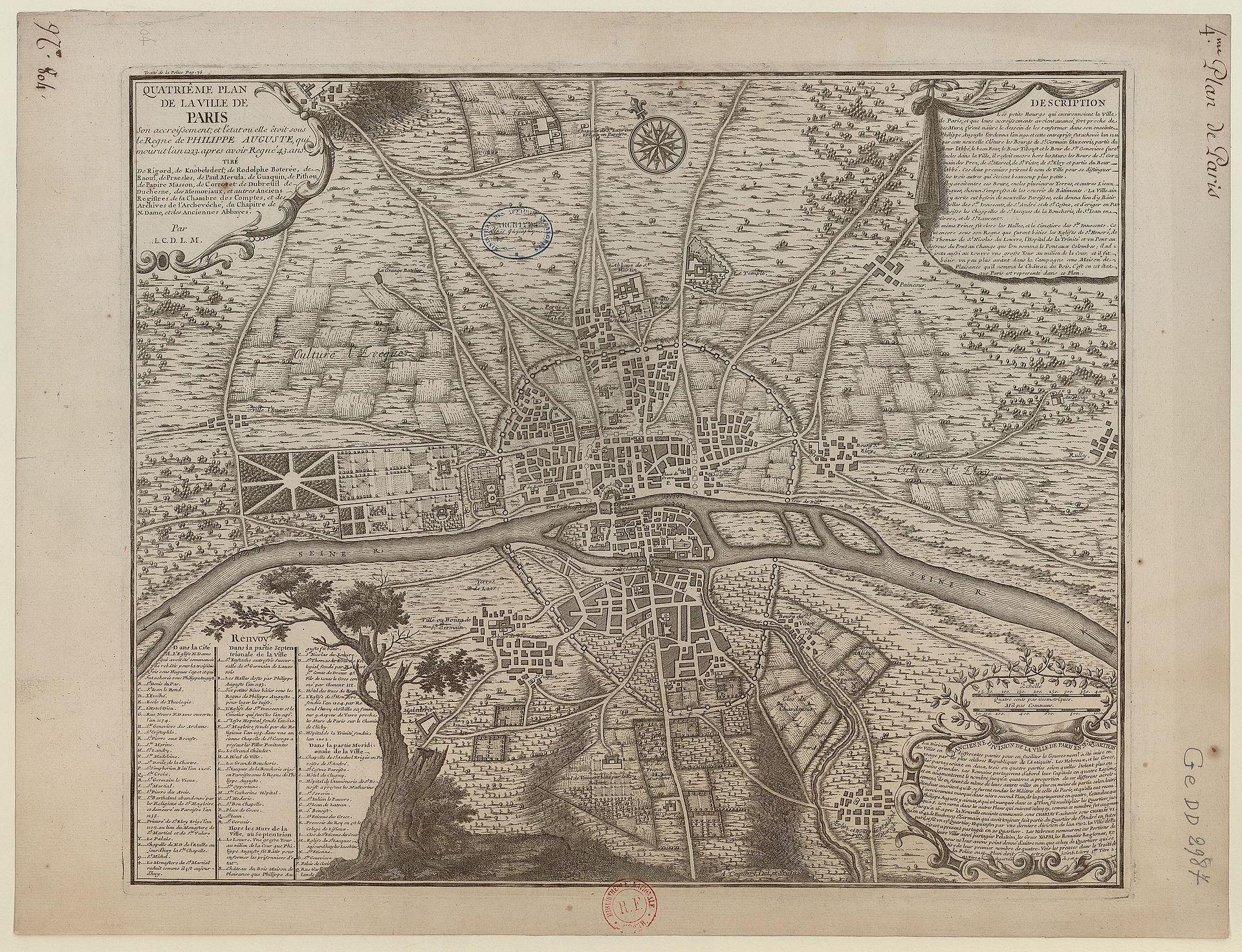Découvrez les images de Paris au Moyen Âge ! By  Morgane Espagnet Plan_de_Paris_1223_BNF07710747