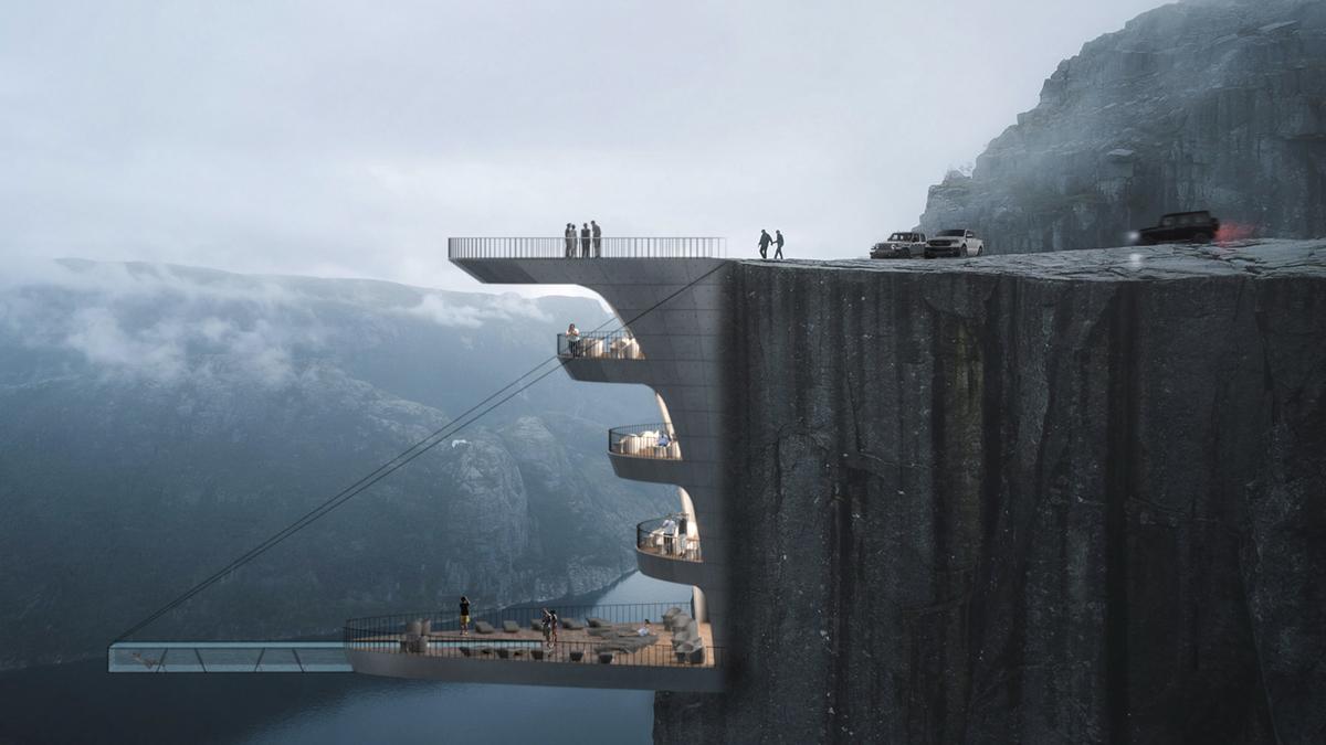 Un projet d'hôtel complètement fou accroché à une falaise en Norvège