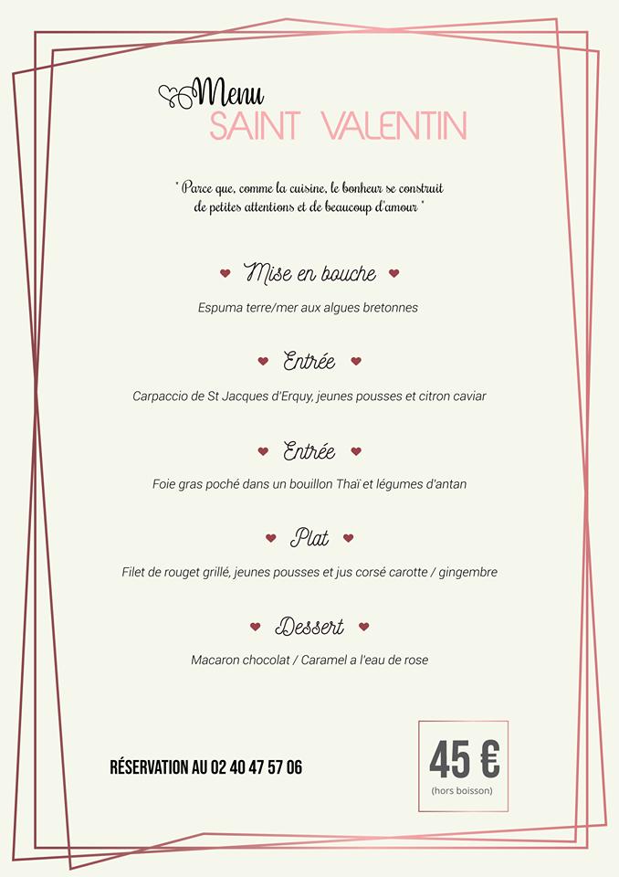 menu saint valentin nantes