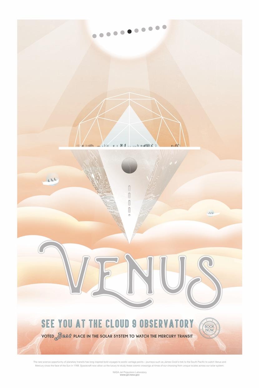 le JPL propose des posters sur le futur tourisme spatial Venus