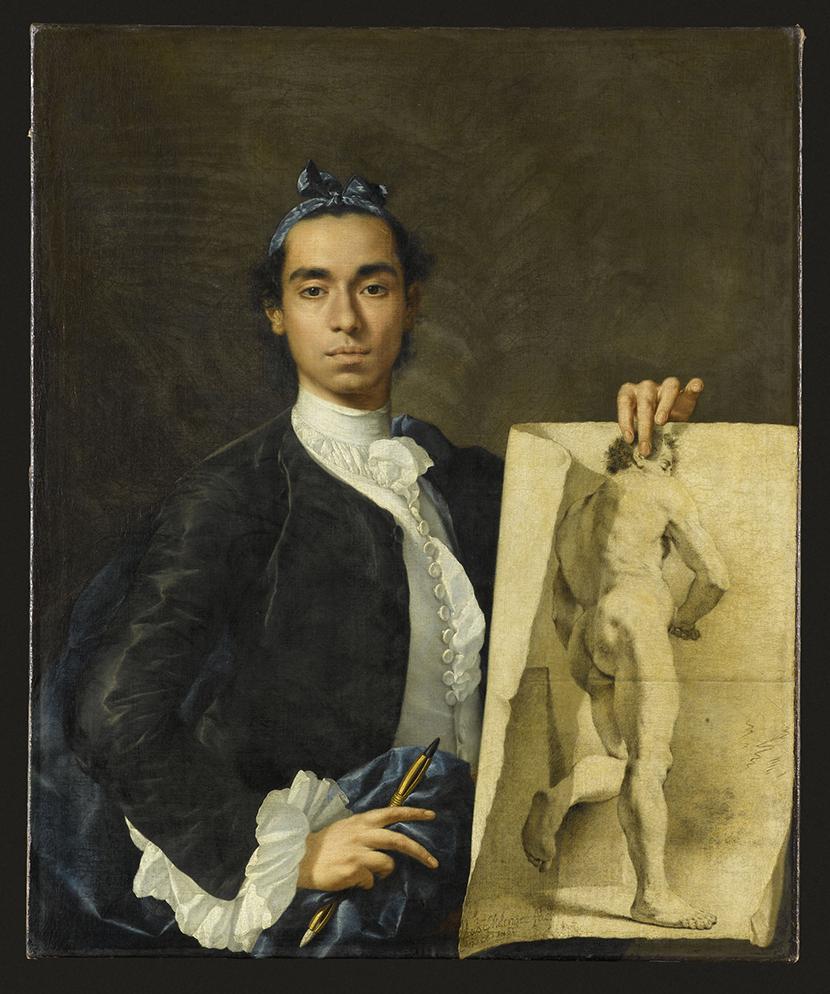 Luis Eugenio Melendez, Portrait de l'artiste tenant une académie © RMN-Grand Palais (Musée du Louvre) - Jean-Gilles Berizzi