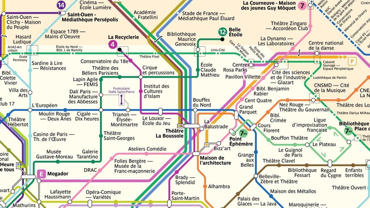 Paris : quand le plan de métro devient une carte des lieux culturels - Le Bonbon